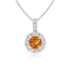 Vintage Style Citrine and Diamond Halo Pendant