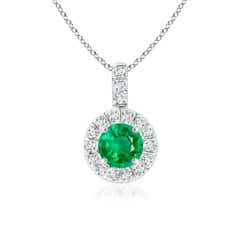 Vintage Style Emerald and Diamond Halo Pendant