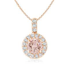 Angara Morganite Teardrop Pendant with Diamond Halo Fvu22iLE