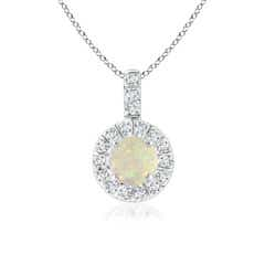 Vintage Style Opal and Diamond Halo Pendant