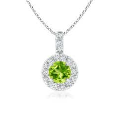 Vintage Style Peridot and Diamond Halo Pendant