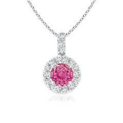 Vintage Style Pink Sapphire and Diamond Halo Pendant