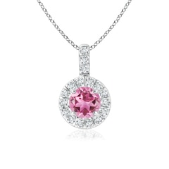 Vintage Pink Tourmaline Halo Pendant with Diamond Bail