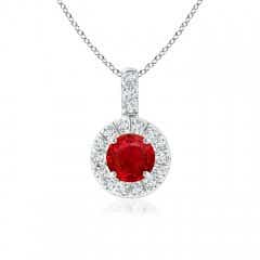 Vintage Style Ruby and Diamond Halo Pendant