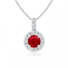 Vintage Ruby Halo Pendant with Diamond Bail