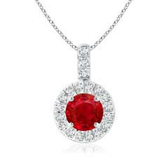 Vintage Ruby Halo Pendant with Diamond Bail