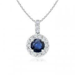 Vintage Blue Sapphire Halo Pendant with Diamond Bail