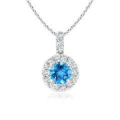 Vintage Swiss Blue Topaz Halo Pendant with Diamond Bail