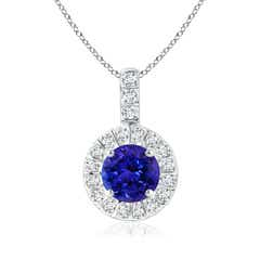 Vintage Style Tanzanite and Diamond Halo Pendant
