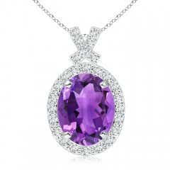 Angara Oval Amethyst Double Halo Loop Pendant