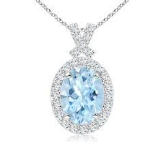 Vintage Style Aquamarine Pendant with Diamond Halo