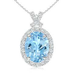 Vintage Style Aquamarine Pendant with Diamond Halo