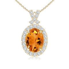 Vintage Style Citrine Pendant with Diamond Halo