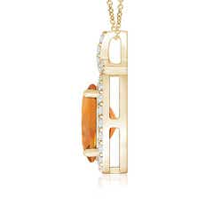 Toggle Vintage Style Citrine Pendant with Diamond Halo