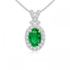 Vintage Inspired Diamond Halo Oval Emerald Pendant