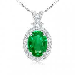 Vintage Style Emerald Pendant with Diamond Halo
