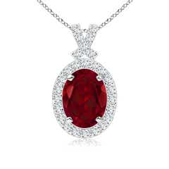 Vintage Style Garnet Pendant with Diamond Halo