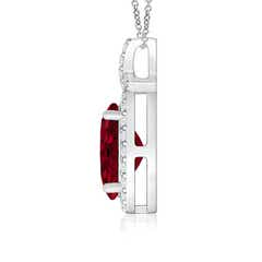 Toggle Vintage Style Garnet Pendant with Diamond Halo