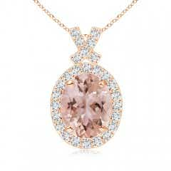 Vintage Style Morganite Pendant with Diamond Halo