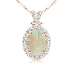 Vintage Inspired Diamond Halo Oval Opal Pendant
