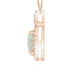 Toggle Vintage Style Opal Pendant with Diamond Halo