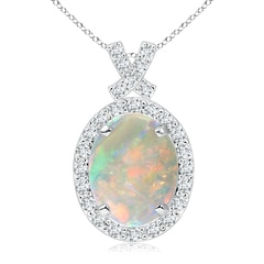 Vintage Style Opal Pendant with Diamond Halo