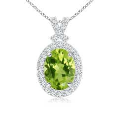 Vintage Style Peridot Pendant with Diamond Halo