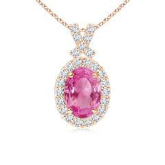 Vintage Style Pink Sapphire Pendant with Diamond Halo