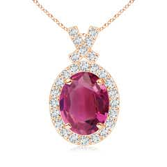 Vintage Style Pink Tourmaline Pendant with Diamond Halo