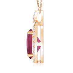 Toggle Vintage Style Pink Tourmaline Pendant with Diamond Halo