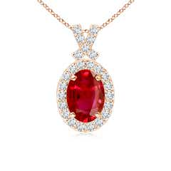 Vintage Inspired Diamond Halo Oval Ruby Pendant