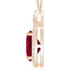 Toggle Vintage Style GIA Certified Ruby Pendant with Diamond Halo