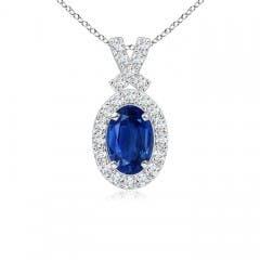 Vintage Inspired Diamond Halo Oval Sapphire Pendant