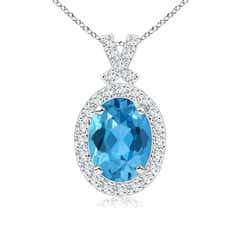 Vintage Style Swiss Blue Topaz Pendant with Diamond Halo