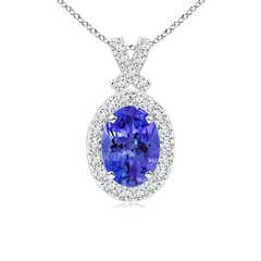 Vintage Style Tanzanite Pendant with Diamond Halo