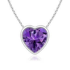 Bezel Set Solitaire Heart Shaped Amethyst Pendant