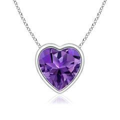 Bezel-Set Solitaire Heart Amethyst Pendant