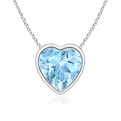 Bezel-Set Solitaire Heart Aquamarine Pendant