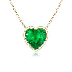 Bezel Set Solitaire Heart Shaped Emerald Pendant