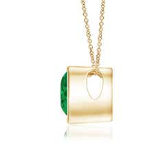Toggle Bezel-Set Solitaire Heart Emerald Pendant
