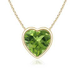 Bezel Set Solitaire Heart Shaped Peridot Pendant