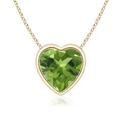 Bezel-Set Solitaire Heart Peridot Pendant