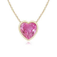 Bezel Set Solitaire Heart Shaped Pink Sapphire Pendant