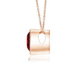 Bezel Set Solitaire Heart Shaped Ruby Pendant