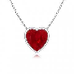 Bezel-Set Solitaire Heart Ruby Pendant