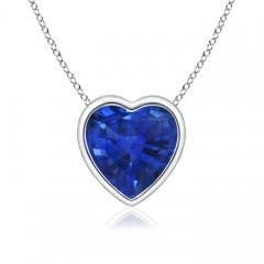 Bezel-Set Solitaire Heart Blue Sapphire Pendant