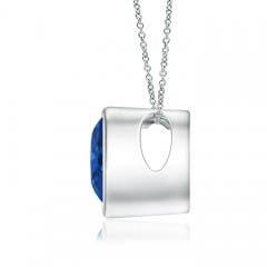 Toggle Bezel-Set Solitaire Heart Blue Sapphire Pendant