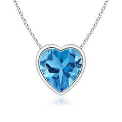 Bezel-Set Solitaire Heart Swiss Blue Topaz Pendant