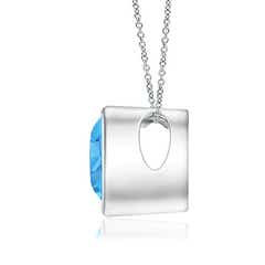 Toggle Bezel-Set Solitaire Heart Swiss Blue Topaz Pendant