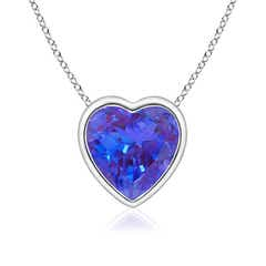 Bezel Set Solitaire Heart Shaped Tanzanite Pendant
